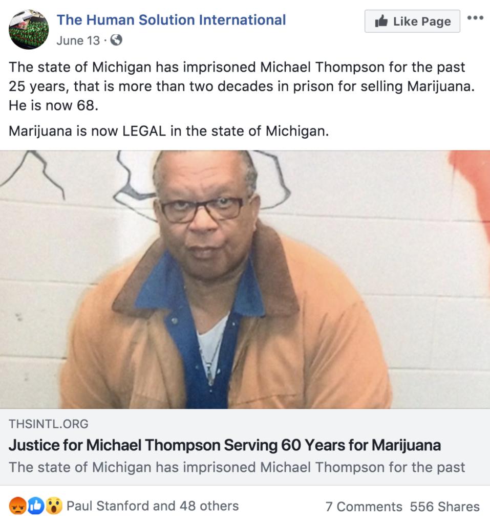 Michael Thompson Pot Prisoner 25 years ---